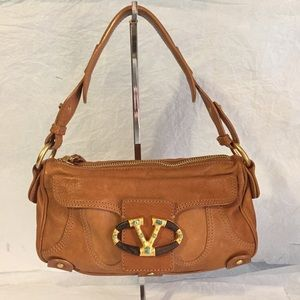 VALENTINO GARAVANI BROWN LEATHER SHOULDER BAG